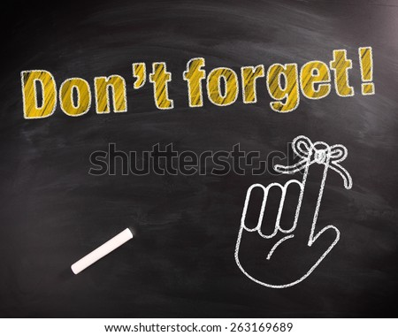 Conceptual Don't Forget Text in Yellow on Black Chalkboard with Hand Drawing Design. - stock photo