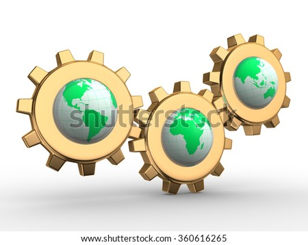 Conceptual Earth globes and gear mechanism. 3d render  - stock photo