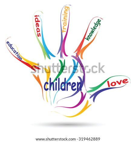 Conceptual education hand print colorful word cloud isolated on white background metaphor to child, family, school, life, learn, knowledge, home, study, teach, educational, achievement childhood, teen - stock photo