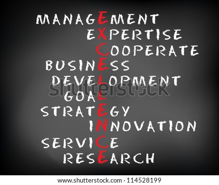 Conceptual EXCELLENCE acronym written on black chalkboard blackboard. Management, expert, development, strategy, research, service, goal.