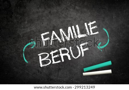 Conceptual Family and Job Message in German Language with Cycle Arrows Written on Black Chalkboard with Two Chalks in the Corner - stock photo