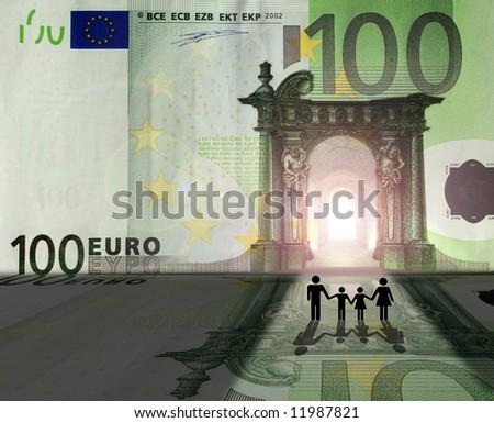 Conceptual: family entering Euro Kingdom - stock photo