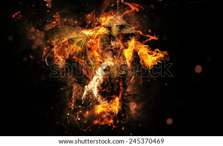 Conceptual Flaming Animal Creature on Black Background with Copy Space. - stock photo