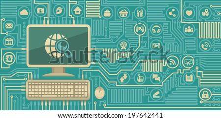 Conceptual flat illustration of Internet interaction in the form of computer board with a personal computer and social media icons - stock photo