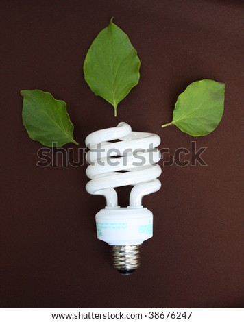 Conceptual fluorescent lightbulb on brown background - stock photo