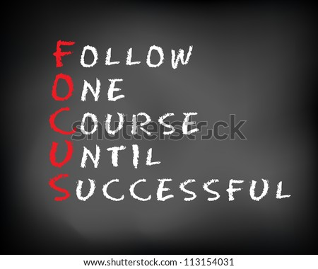 Conceptual FOCUS acronym written on black chalkboard blackboard. follow One Course Until Successful. Slide template.