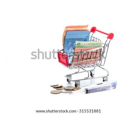 Conceptual for medical saving, a bunch of ringgit malaysia banknotes filling a shopping cart,with coins,thermometer and syringe - stock photo