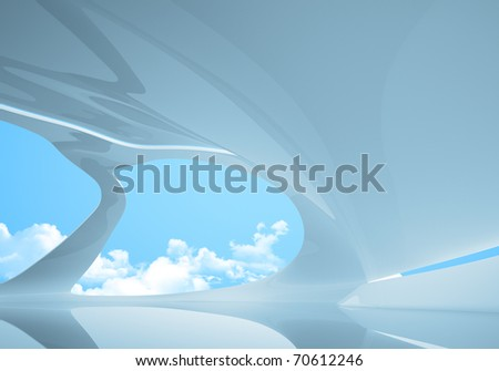 Conceptual future style interior. Plenty empty space to place your logo / text / product / people. One of a series. - stock photo