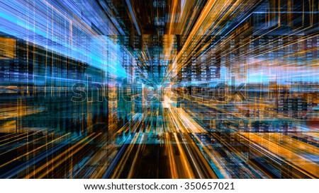 Conceptual futuristic technology digital light abstraction. High resolution illustration 10604. - stock photo