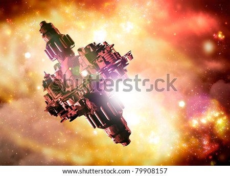conceptual generation ship which would be used for space voyages that last generation in earth time. Seen against a colorful nebula backdrop.