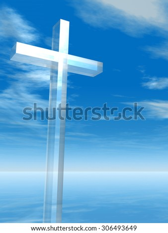 Conceptual glass cross or religion symbol silhouette on water landscape over a blue sky with sunlight clouds background for religion, faith, holiday, God, religious, Jesus or belief designs - stock photo
