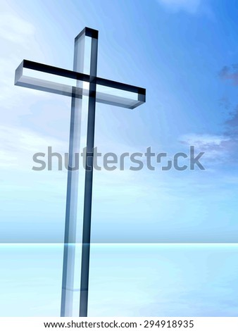 Conceptual glass cross or religion symbol silhouette on water landscape over a sunset or sunrise sky with sunlight clouds background for religion, faith, holiday, God, religious, Jesus, belief designs - stock photo