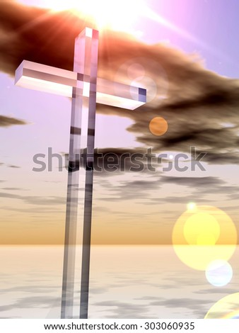 Conceptual glass cross, religion symbol silhouette on water landscape over a sunset or sunrise sky with sunlight clouds background for religion, faith, holiday, God, religious, Jesus or belief designs - stock photo