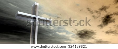 Conceptual glass cross religion symbol silhouette on water landscape over a sunset or sunrise sky with sunlight clouds background banner  for God, Christ, Christianity, religious, faith, Jesus belief