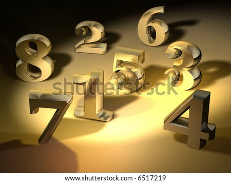 Conceptual Golden Numbers On Spot Light Stock Illustration 6517219