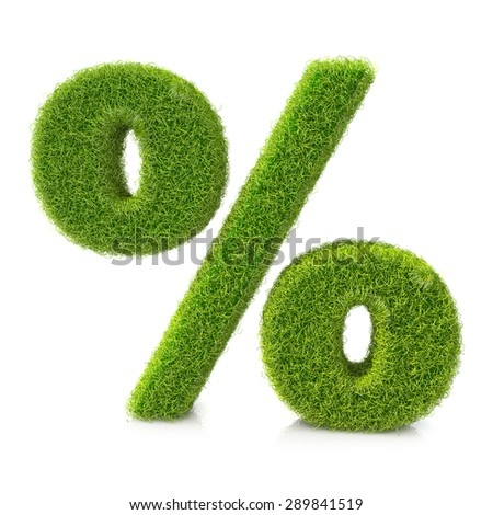 Conceptual grassed sign of percent  - stock photo