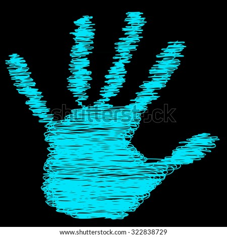 Conceptual green painted drawing hand shape print isolated on black paper background, for handmade or manual, art, line, children, scribble, education, grungy or sketch design, made by a child - stock photo