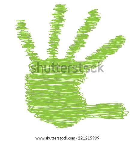 Conceptual green painted drawing hand shape print isolated on white paper background, for handmade or manual, art, line, children, scribble, education, grungy or sketch design, made by a child - stock photo