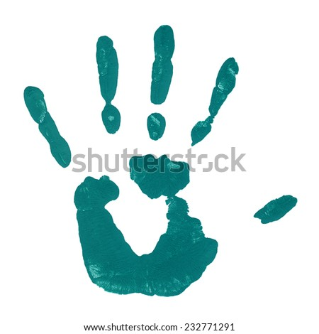 Conceptual green painted hand shape or print isolated on white paper background, for handmade or manual, art, children, imprint, palm, identity, education, grungy or sketch designs, made by a child - stock photo