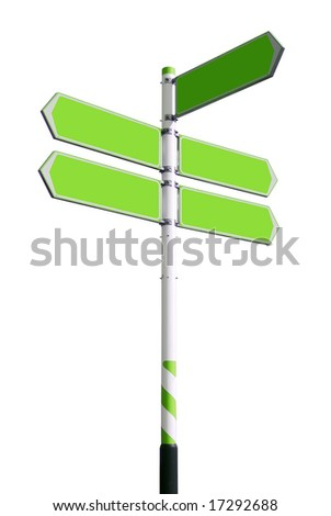 Conceptual green roadsign with empty direction arrows for business solutions or locations, isolated on white background (with clipping path) - stock photo