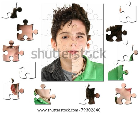 Conceptual growth image of child age 8 and 18 years old. - stock photo