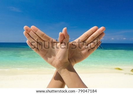Conceptual hand gesture of Dove, world peace concept. Original hand posing at beach. - stock photo
