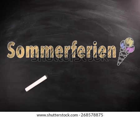 Conceptual Hanwritten Sommerferien or Summer Vacation Texts in Yellow with Ice Cream Drawing on Black Chalkboard.