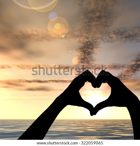 Conceptual heart shape or symbol made of human woman and man hand silhouette over a sky and sea or water at sunset background for love, valentine, romantic, couple, wedding, romance, summer or sunrise