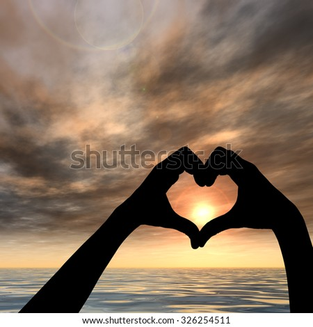 Conceptual heart shape symbol made of human or woman and man hand silhouette over a sky and sea or water at sunset background  for love, valentine, romantic, couple, wedding, romance, summer sunrise - stock photo