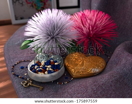 conceptual holiday Still life with bead and decorative hearts - stock photo