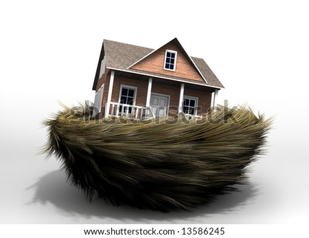 Conceptual house in a bird nest - rendered in 3d - stock photo