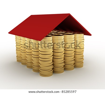 Conceptual house  made from coins. 3d render illustration - stock photo