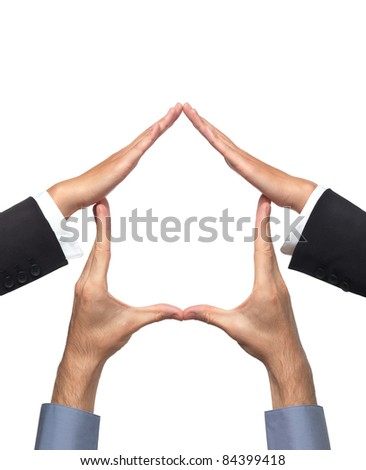 Conceptual house symbol made by hands of a woman and a man. Isolated sign on white background. - stock photo