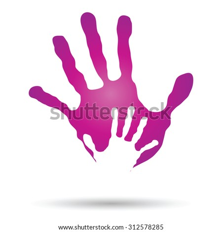 Conceptual human, mother and child hand prints painted, isolated on white background for art, care, childhood, family, fun, happy, infant, symbol, kid, little, love, mom, motherhood, young design - stock photo