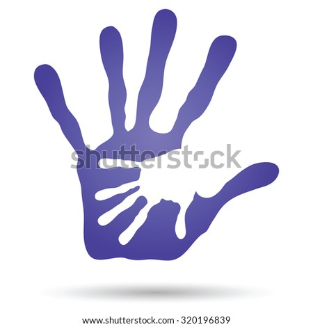 Conceptual human or mother and child hand prints painted, isolated on white background for art, care, childhood, family, fun, happy, infant, symbol, kid, little, love, mom, motherhood, young design