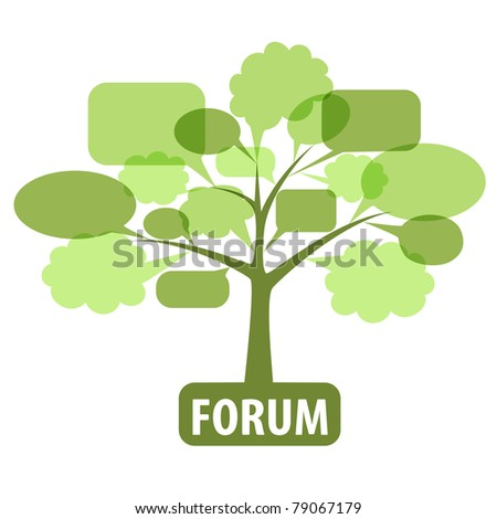 Conceptual icon of forum or chat: tree of speech bubbles. Rasterized vector - stock photo