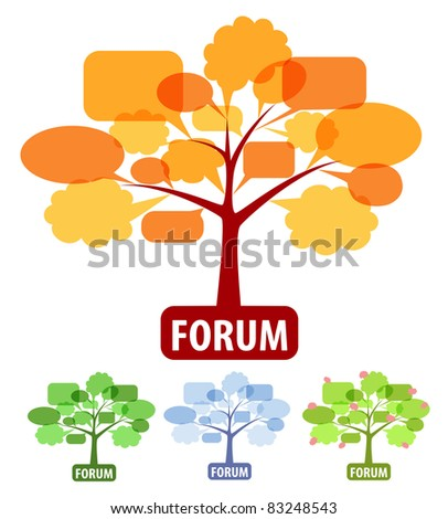 Conceptual icons of forum or chat: tree of speech bubbles, four season of year - stock photo