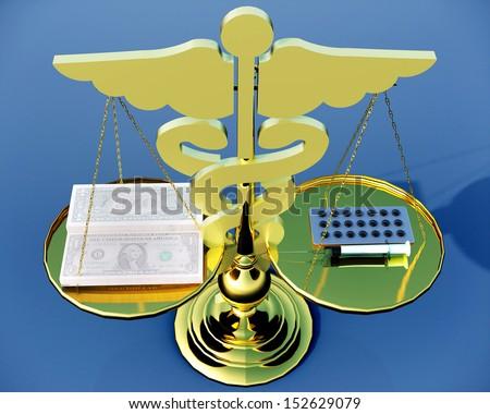Conceptual idea of justice in medicine - stock photo