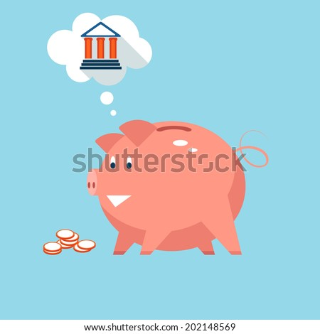 Conceptual illustration depicting banking piggy bank money into sound investments at the bank with a pink piggy thinking of a bank in a thought bubble - stock photo