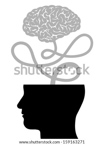 Conceptual illustration depicting human intelligence with the silhouette of a mans head with the top of the cranium removed and the brain floating free on a cord - innovation and creativity - stock photo