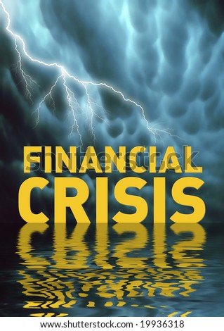 Conceptual illustration: Financial crisis (recession) - stock photo