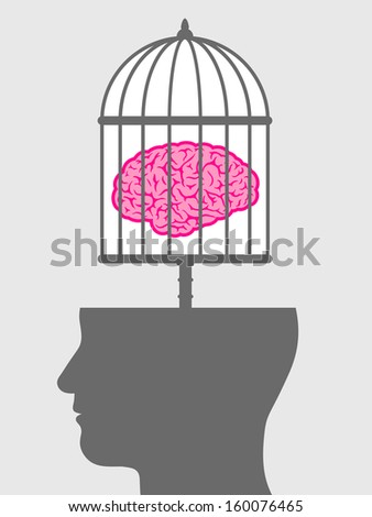 Conceptual illustration of a caged brain with a male head depicting a lack of freedom of thought and a man who is a captive and no longer free to innovate or create but is controlled - stock photo