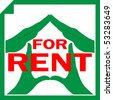 Conceptual illustration of a house symbol made from hands with sign FOR RENT overlayed on it - stock photo