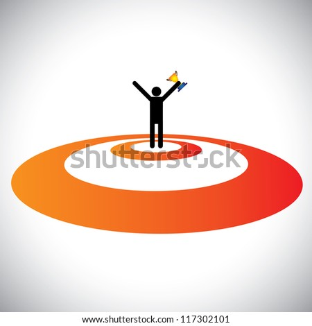Conceptual Illustration of a winner/victor winning & celebrating. The graphic shows a person successfully reaching goal, winning the trophy and celebrating his victory over his competitors - stock photo