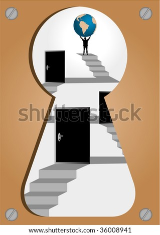 Conceptual illustration of achieving a goal - stock photo