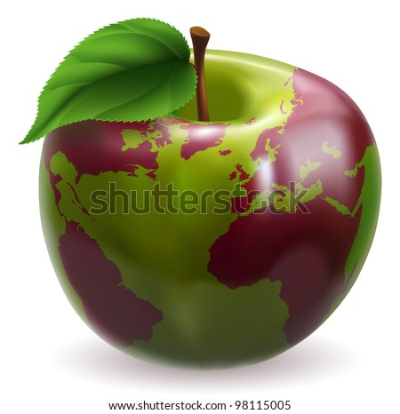 Conceptual illustration of an apple with color on skin forming the world globe - stock photo