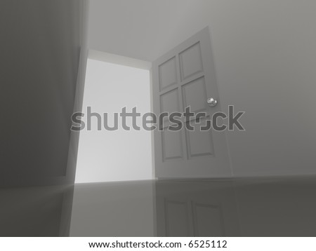 Conceptual illustration of an opened door - rendered in 3d