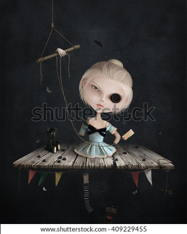 Conceptual illustration of broken doll with buttons - stock photo