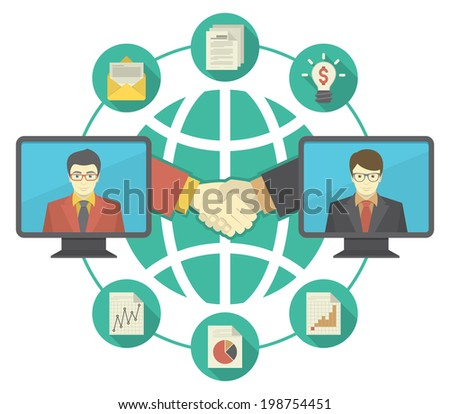 Conceptual illustration of business cooperation using the new information-sharing technologies. It can present the idea of collaboration, exchange of ideas, information and international partnership - stock photo