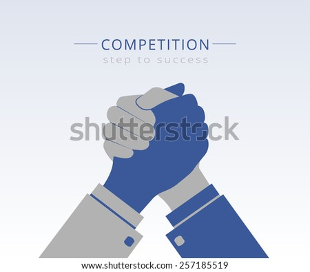 Conceptual Illustration of competition between two business mans - stock photo